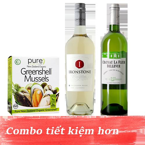 Combo 1: Rượu Vang Chateau La Fleur Bellevue White + Rượu Vang Ironstone Sauvignon Blanc + 1kg Vẹm Xanh New Zealand