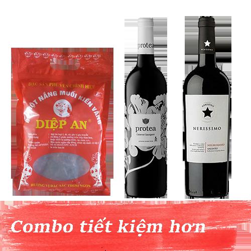 Combo 10.1: Rượu Vang Protea Cabernet Sauvignon + Rượu Vang Nerissimo Negroamaro Salento + 500gram Bò Một Nắng