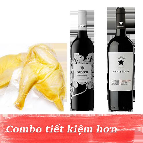 Combo 10.2: Rượu Vang Protea Cabernet Sauvignon + Rượu Vang Nerissimo Negroamaro Salento + 1kg Gà Mía