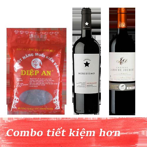 Combo 11.1: Rượu Vang Nerissimo Negroamaro Salento + Rượu Vang Chateau Laroche Joubert + 500gram Bò Một Nắng