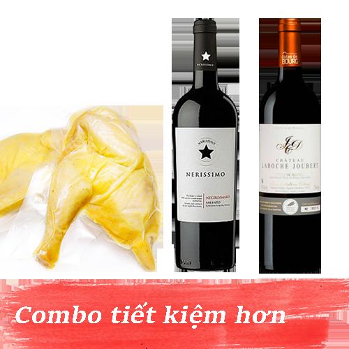 Combo 11.2: Rượu Vang Nerissimo Negroamaro Salento + Rượu Vang Chateau Laroche Joubert + 1kg Gà Mía