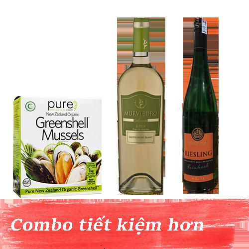 Combo 2: Rượu Vang Dr Zenzen Riesling Feinherb Mosel + Rượu Vang Murviedro Coleccion Sauvignon Blanc + 1kg Vẹm Xanh New Zealand