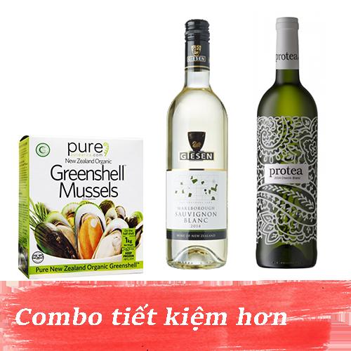 Combo 3: Rượu Vang Protea Chenin Blanc + Rượu Vang Giesen Sauvignon Blanc + 1kg Vẹm Xanh New Zealand