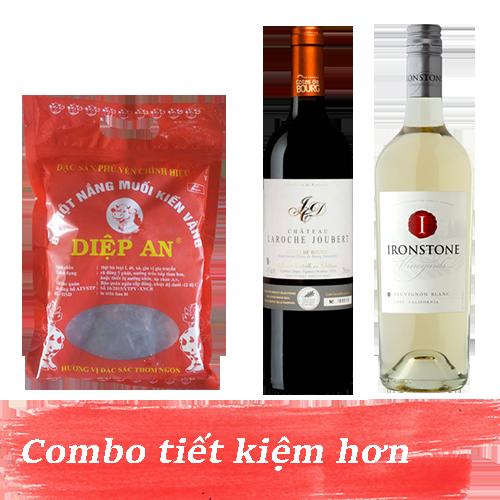 Combo 4.2: Rượu Vang Ironstone Sauvignon Blanc + Rượu Vang Chateau Laroche Joubert + 500gram Bò Một Nắng