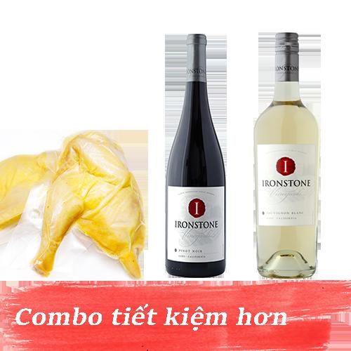 Combo 6.1: Rượu Vang Ironstone Sauvignon Blanc + Rượu Vang Ironstone Pinot Noir + 1kg Gà Mía