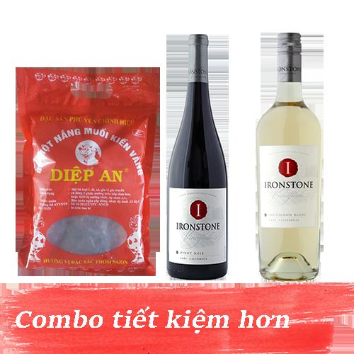 Combo 6.2: Rượu Vang Ironstone Sauvignon Blanc + Rượu Vang Ironstone Pinot Noir + 500gram Bò Một Nắng