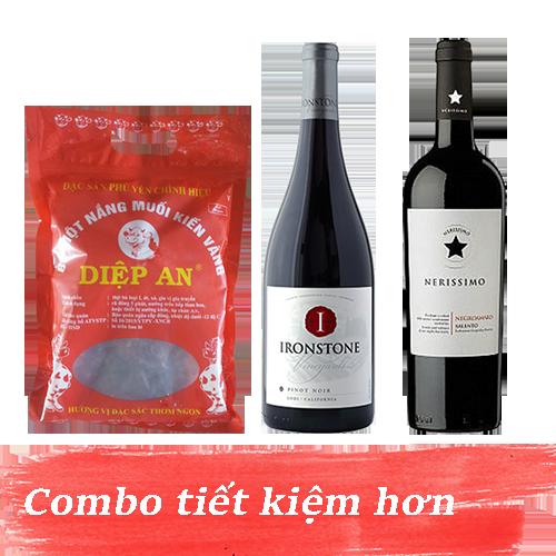 Combo 7.1: Rượu Vang Ironstone Pinot Noir + Rượu Vang Nerissimo Negroamaro Salento + 500gram Bò Một Nắng