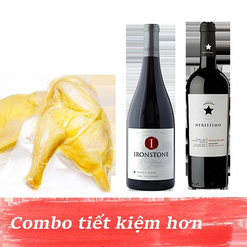 Combo 7.2: Rượu Vang Ironstone Pinot Noir + Rượu Vang Nerissimo Negroamaro Salento + 1kg Gà Mía