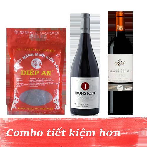 Combo 8.1: Rượu Vang Ironstone Pinot Noir + Rượu Vang Chateau Laroche Joubert + 500gram Bò Một Nắng