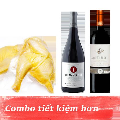 Combo 8.2: Rượu Vang Ironstone Pinot Noir + Rượu Vang Chateau Laroche Joubert + 1kg Gà Mía