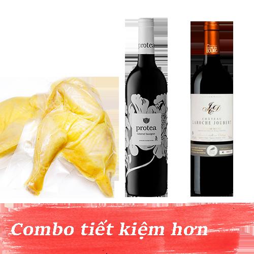 Combo 9.2: Rượu Vang Protea Cabernet Sauvignon + Rượu Vang Chateau Laroche Joubert + 1kg Gà Mía