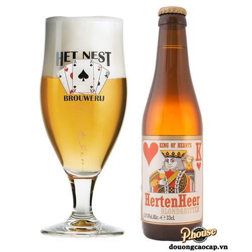Bia Het Nest Herten Heer Blond & Bitter 6.5% – Chai 330ml – Bia Bỉ Nhập Khẩu TPHCM