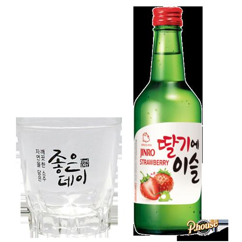 Rượu Jinro Soju Strawberry 13% – Chai 360ml – Rượu Hàn Quốc Nhập Khẩu TPHCM